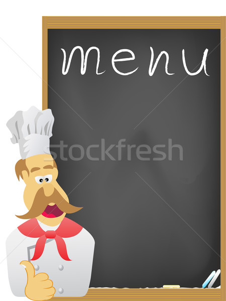 Chef bord menu visage bois pizza Photo stock © huhulin