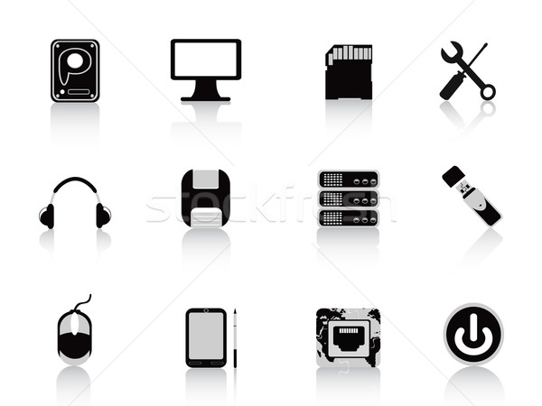 black computer equipment icon Stock photo © huhulin