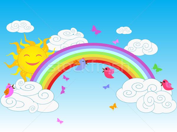 Kleurrijk regenboog zonnige heldere hemel vlinder Stockfoto © huhulin