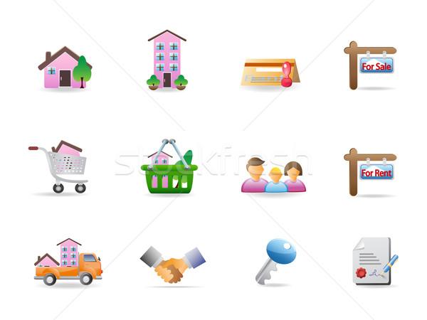 Imóveis ícones projeto família casa assinar Foto stock © huhulin