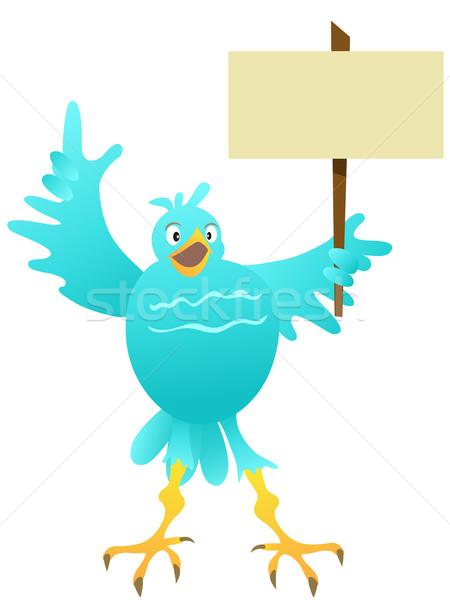 Rajz kék madár üres tábla terv légy Stock fotó © huhulin