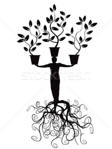árvore homem raiz sucesso liberdade planta Foto stock © huhulin