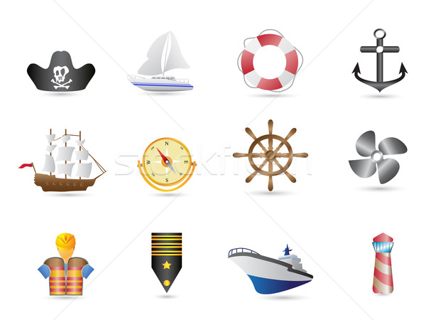 Marine, Sailing and naval icons  Stock photo © huhulin