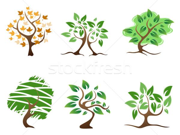 Verde abstrato árvore ícone projeto primavera Foto stock © huhulin