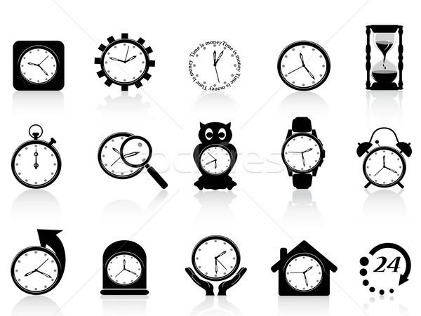 black clock icon set Stock photo © huhulin