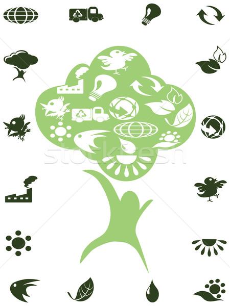 Stockfoto: Groene · recycleren · iconen · boom · voorjaar · vis