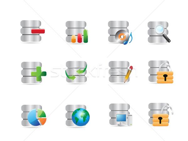 Veritabanı simgeler web tasarım bilgisayar dünya kalem Stok fotoğraf © huhulin