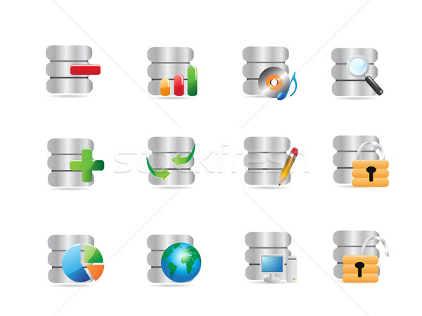 Banco de dados ícones web design computador globo lápis Foto stock © huhulin
