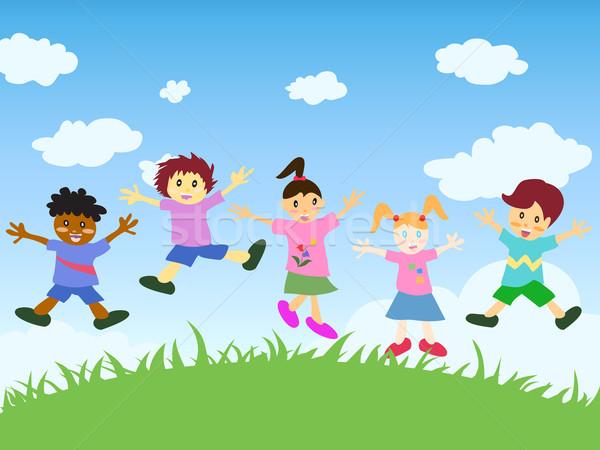 Feliz crianças saltando acima grama mão Foto stock © huhulin
