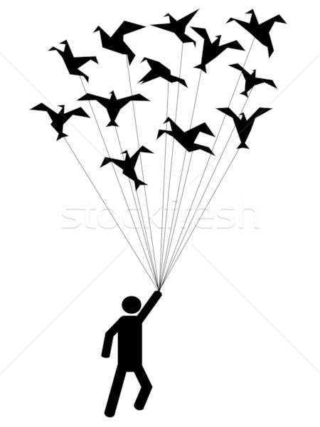 Symbole personnes réalisée battant papier oiseaux Photo stock © huhulin