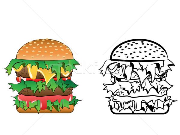 Cheeseburger cartoon immagine varietà entrambi colore Foto d'archivio © huhulin