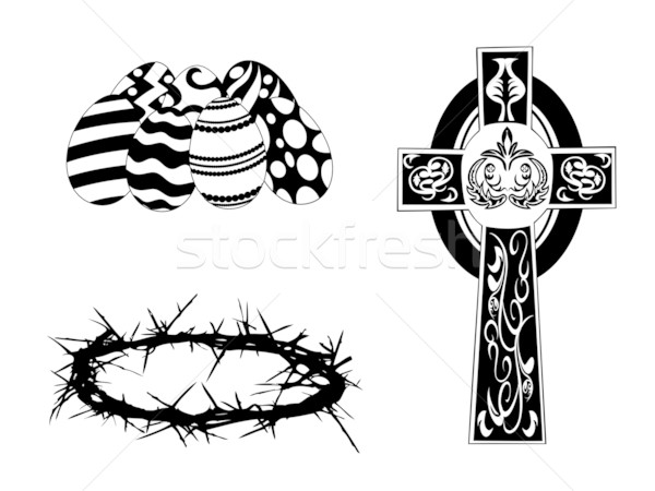 silhouette items for easter day Stock photo © huhulin