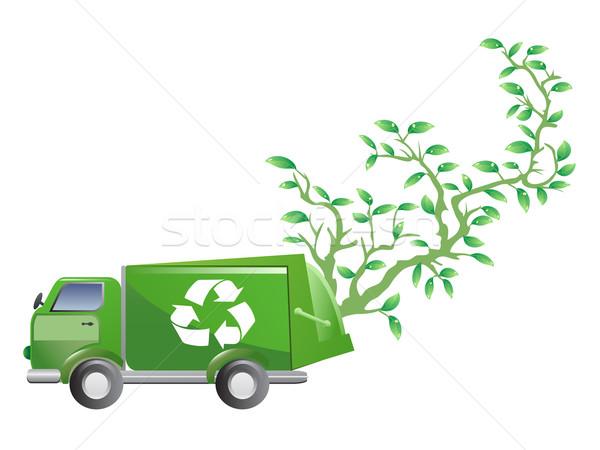 Verde carro árvore isolado branco abstrato Foto stock © huhulin