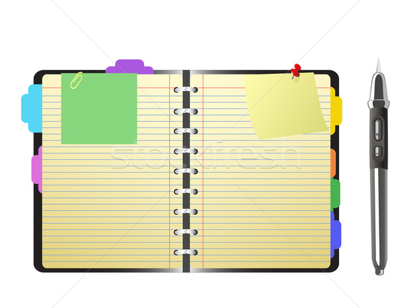 open personal organizer and pen Stock photo © huhulin