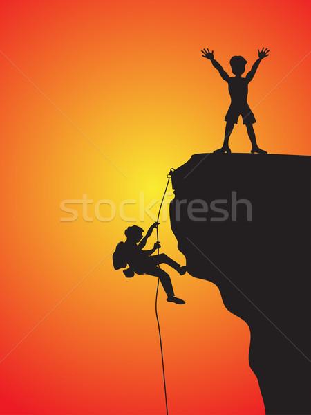 Rotsklimmen twee klimmen klif hemel sport Stockfoto © huhulin