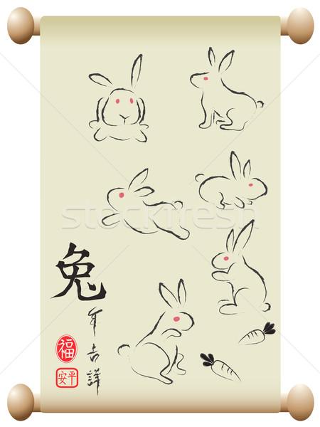 Conigli cinese felice design arte pittura Foto d'archivio © huhulin