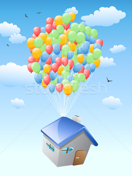 house with balloons flying in the blue sky  Stock photo © huhulin