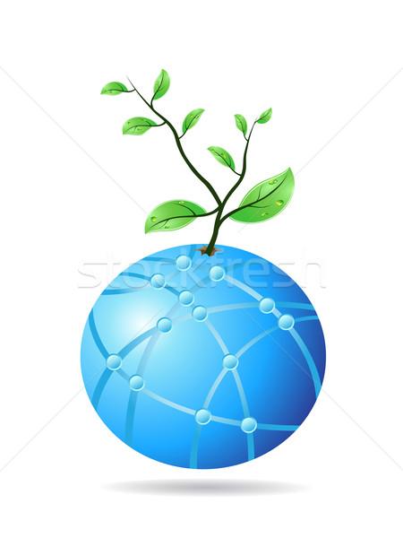 Stock foto: Anlage · zunehmend · Glas · Welt · Design · Hintergrund