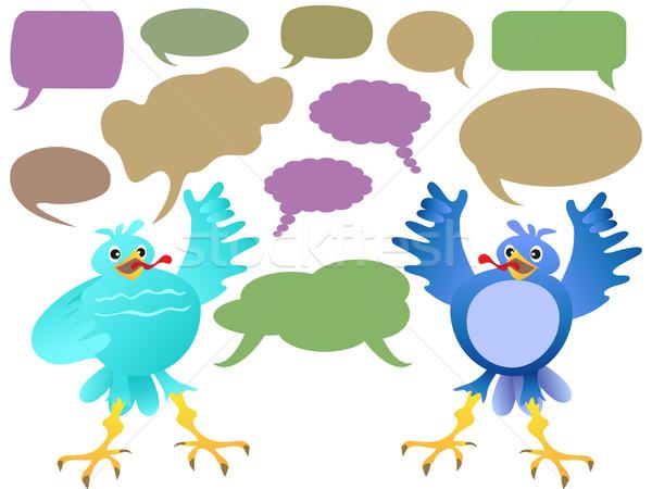 Aves falar rede teia Foto stock © huhulin