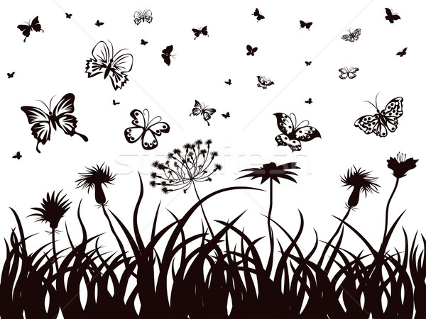 butterflies, flowers and grass  Stock photo © huhulin