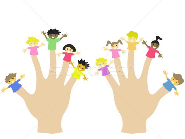 Mano indossare 10 dito bambini ragazza Foto d'archivio © huhulin