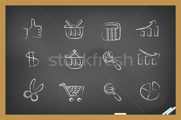 Foto stock: Compras · ícones · lousa · mão · desenho · dinheiro