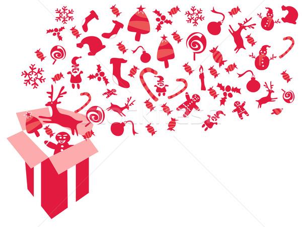 Czerwony christmas dar wzorców na zewnątrz Zdjęcia stock © huhulin