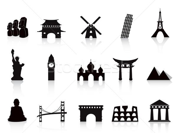 Foto stock: Preto · ponto · de · referência · ícones · viajar · projeto · construção