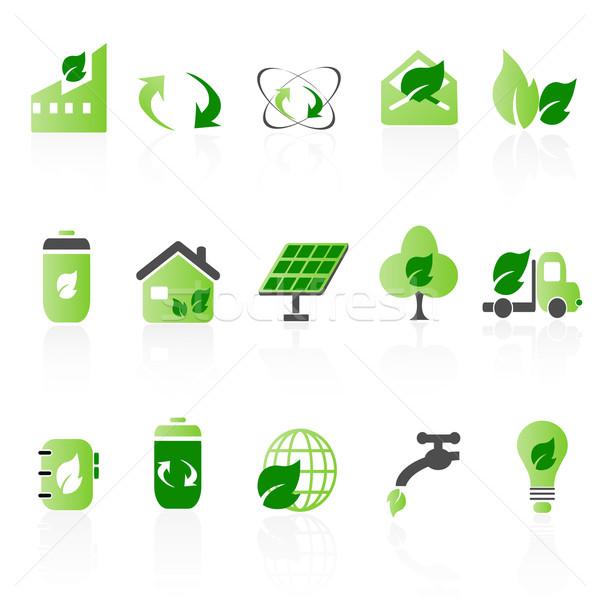 Verde ícone casa primavera caminhão energia Foto stock © huhulin