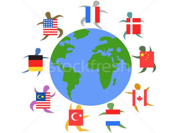 Internationale mensen vlag rond wereld familie Stockfoto © huhulin