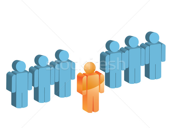 Homem fora grupo fila abstrato corpo Foto stock © huhulin