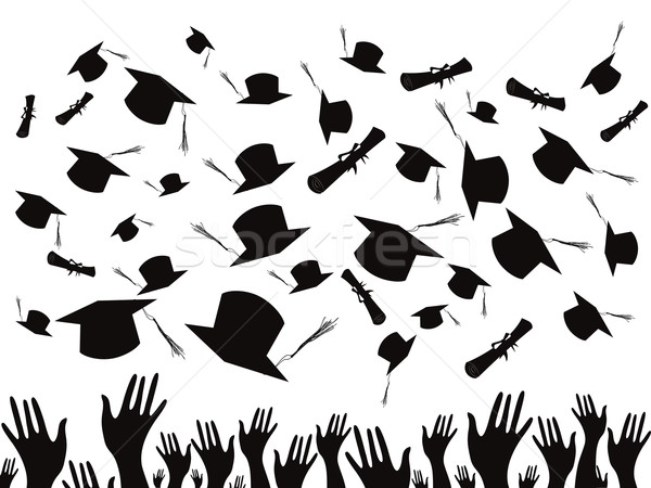 Students graduating and tossing caps Stock photo © huhulin