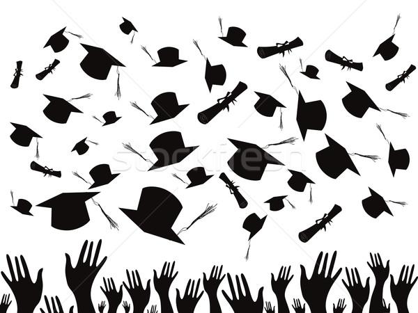 Estudantes mão fundo silhueta branco gráfico Foto stock © huhulin