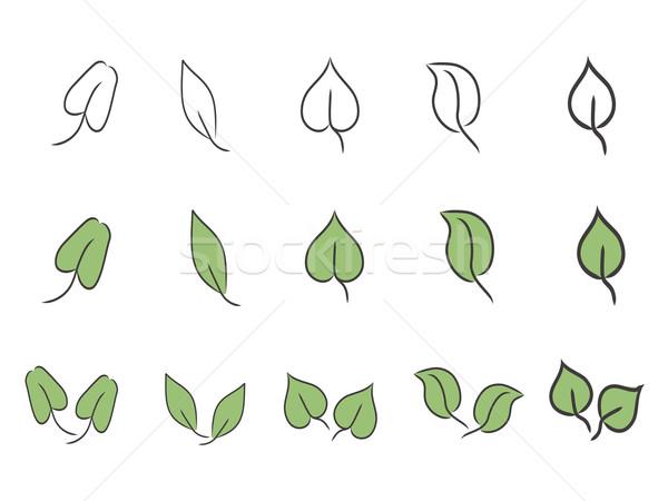 Stockfoto: Blad · groene · eenvoudige · ontwerp · boom