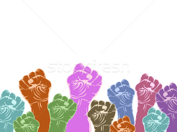 color fists with copy space above on white background  Stock photo © huhulin