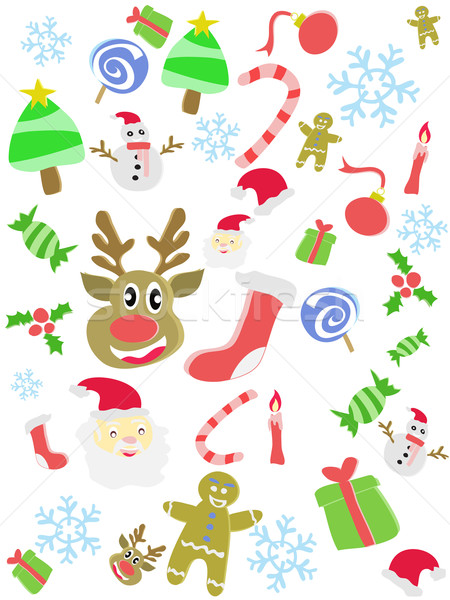cartoon doodle Christmas seamless background Stock photo © huhulin
