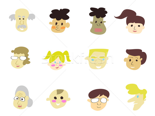 doodle cartoon people icons Stock photo © huhulin