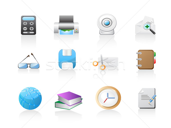Escritório web design papel livro relógio Foto stock © huhulin