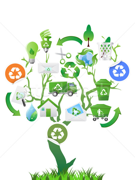 Eco simgeler dizayn ev ağaç Stok fotoğraf © huhulin
