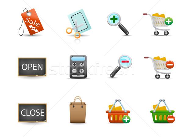 Conjunto compras ícones projeto internet Foto stock © huhulin