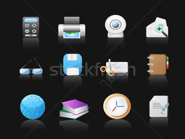 Stockfoto: Kantoor · iconen · zwarte · web · design · papier · boek