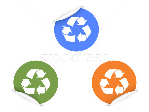3 color recycling Stickers   Stock photo © huhulin