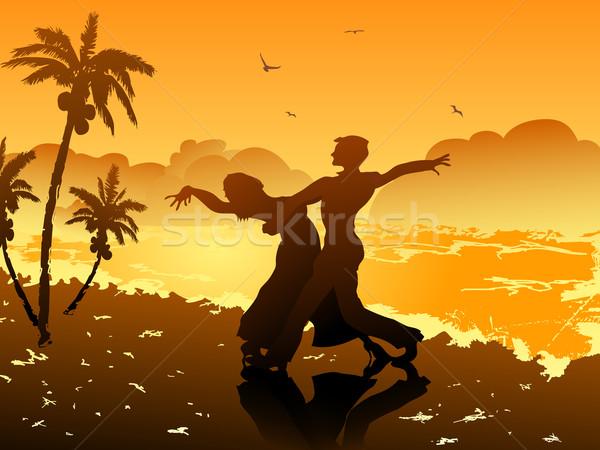 Tánc tengerpart pár naplemente férfi háttér Stock fotó © huhulin