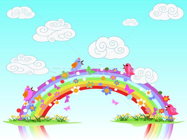 Colorido primavera arco-íris céu grama paisagem Foto stock © huhulin