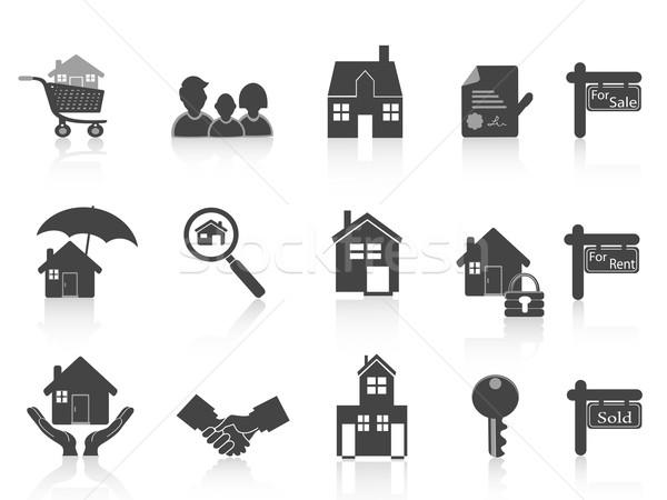 Preto imóveis ícone projeto família Foto stock © huhulin