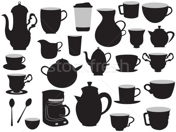 Conjunto café mão desenho vidro Foto stock © huhulin