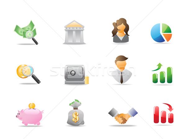 Banco ícones projeto negócio dinheiro teia Foto stock © huhulin