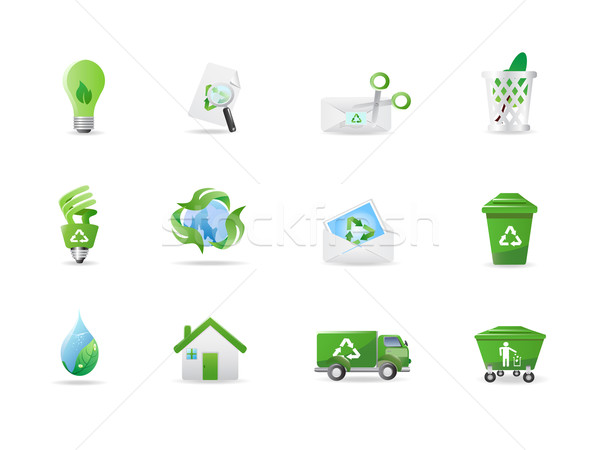 Milieu eco iconen groene ontwerp abstract Stockfoto © huhulin