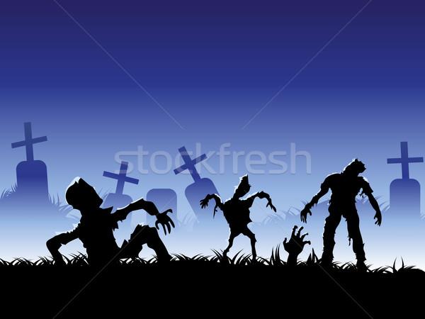 Hátborzongató zombi halloween terv test kereszt Stock fotó © huhulin