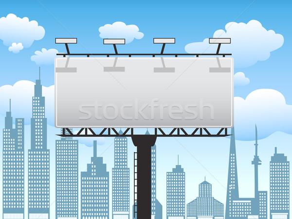 Billboard ilustracja stałego miasta Błękitne niebo podpisania Zdjęcia stock © huhulin